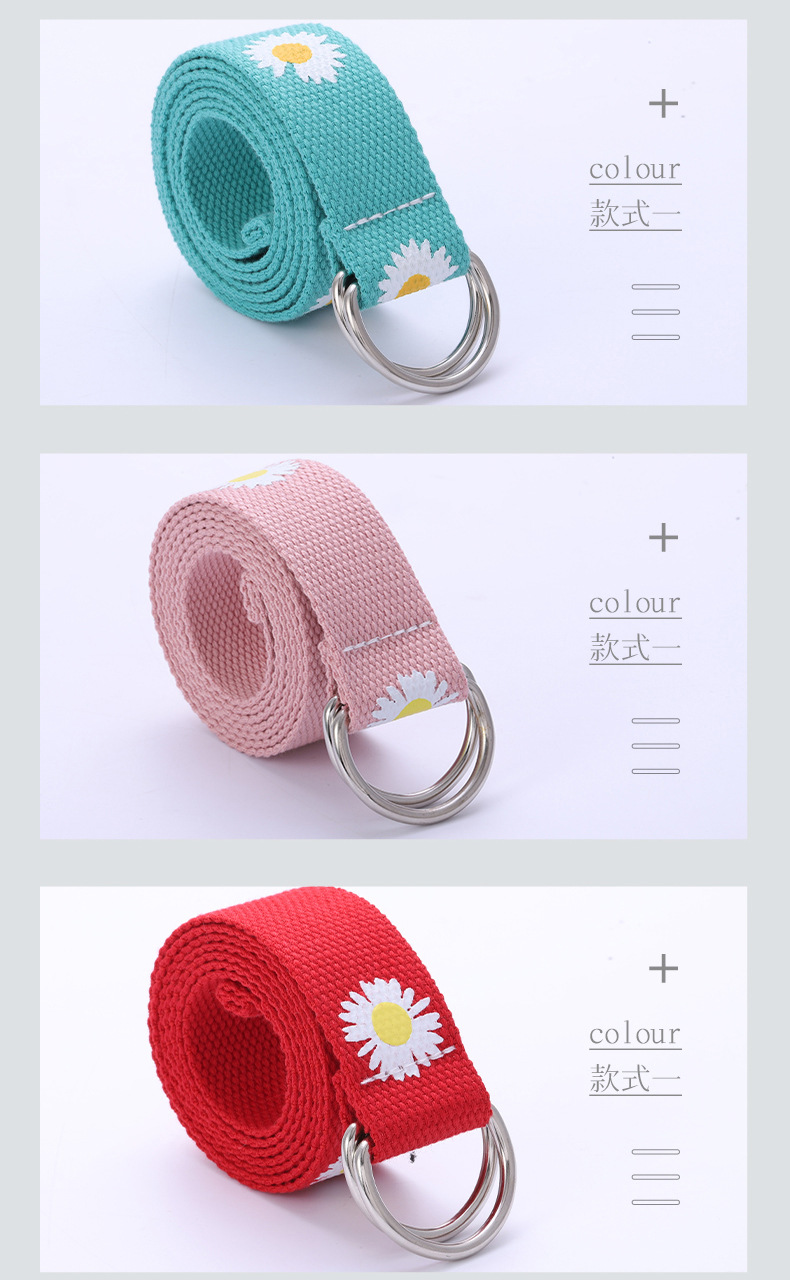 Korean fashion new ladies belt double ring buckle printed flower canvas belt wild student small daisy jeans belt wholesale nihaojewelry NHPO222101