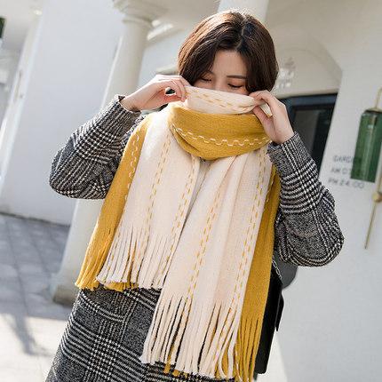 围巾女秋冬季韩版百搭仿羊绒加厚两用双面双色针织学生毛线围脖