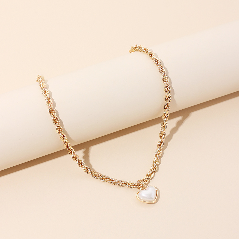 twist love pearl necklace ladies  clavicle chain womens necklace NHRN252776