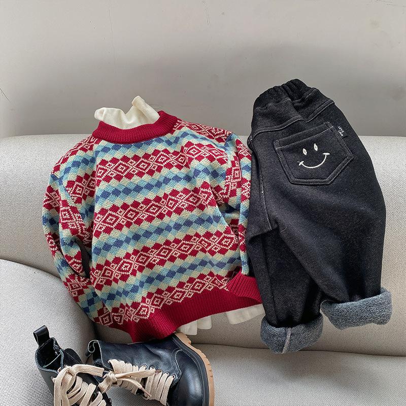 儿童毛衣2020眯眯眼冬季新品男女童提花格纹毛线衫宝宝韩版套头衫