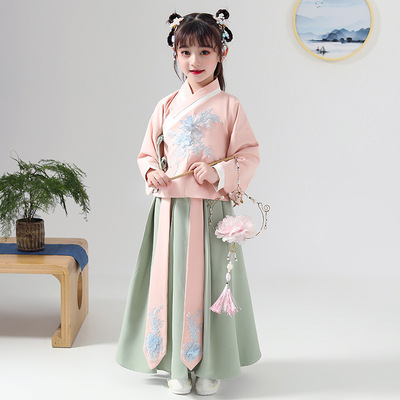Chinese Hanfu fairy dress girls Chigu guochaoxian long sleeve jacket skirt year old girls children Tang dress