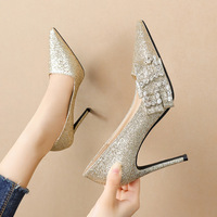 6606-1 in Europe and the us show thin shallow mouth sexy high-heeled shoes joker web celebrity fairy wind single diamond shoes heel shoes