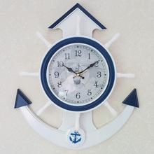 船舵掛鐘靜音時鐘兒童房裝飾藝術鐘表個性臥室客廳墻飾