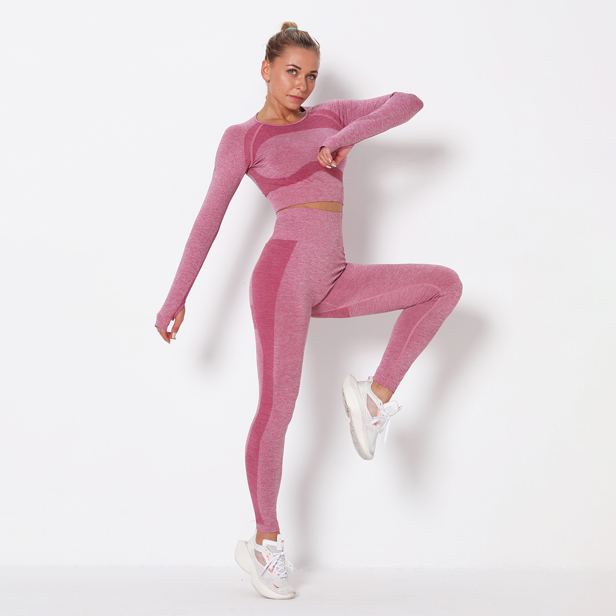 seamless knitted hip-lifting stretch quick-drying training suit  NSLX8997