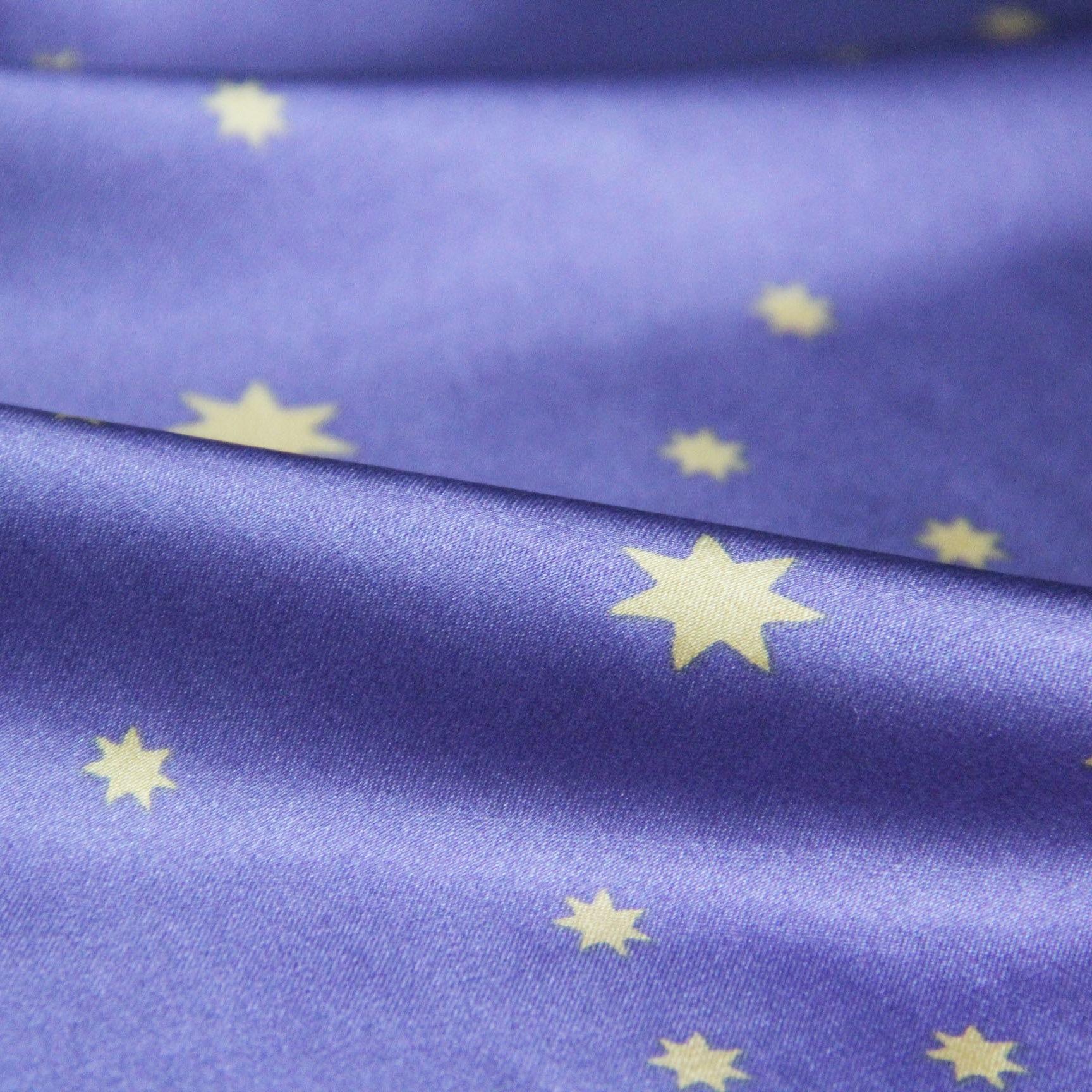 涤氨弹力星星印花色丁布 单面数码印花面料时尚睡衣家居服面料