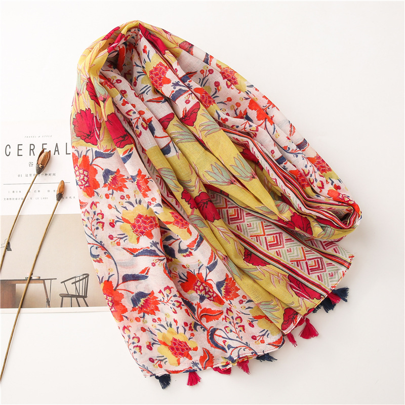 new fashion Korean wild pink totem ethnic style shawl beach towel cotton and linen scarf for women  NHGD246709
