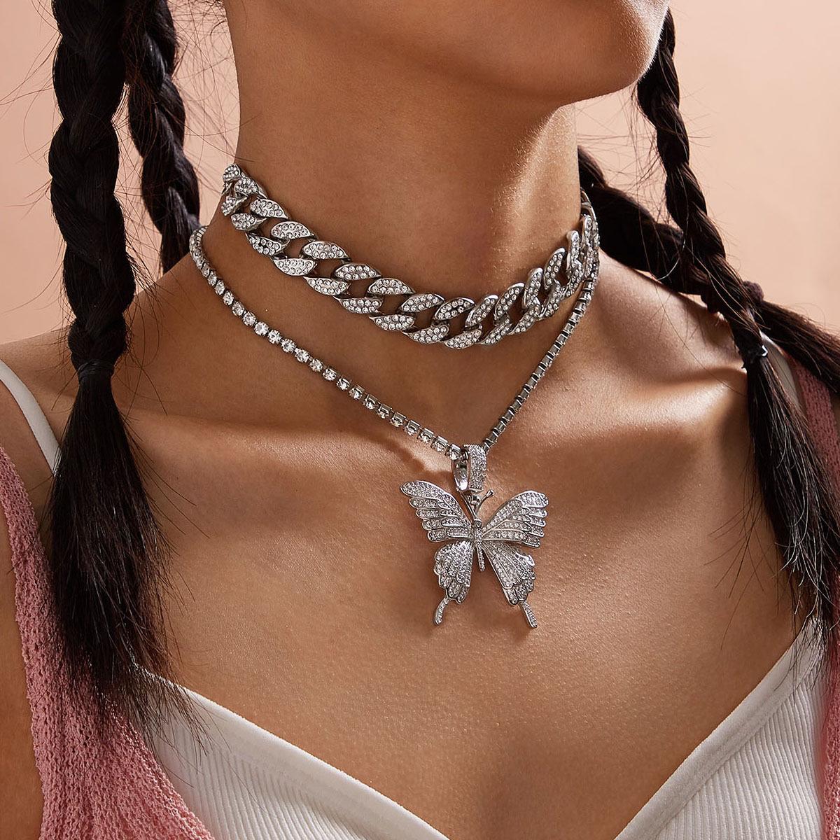 3 шт Искрящийся Кристалл паве бабочка кулон ожерелье 3d Модные