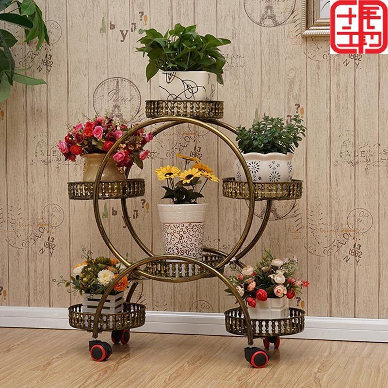 花架子有带轮子的可移动铁艺多层复古客厅落地式阳台欧式绿萝花架
