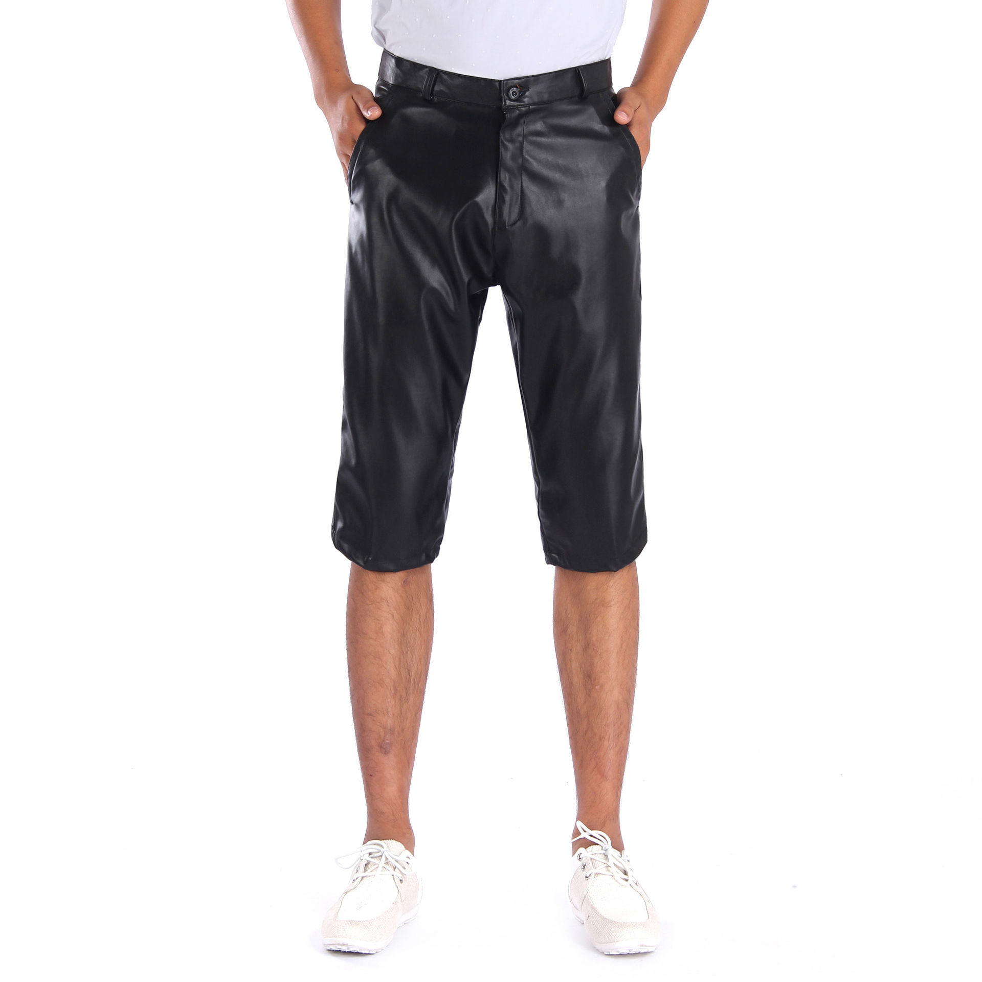 Summer elastic cashless knitted 5 / 6 leather shorts water and dirt resistant work pants labor protection loose men's leather pants