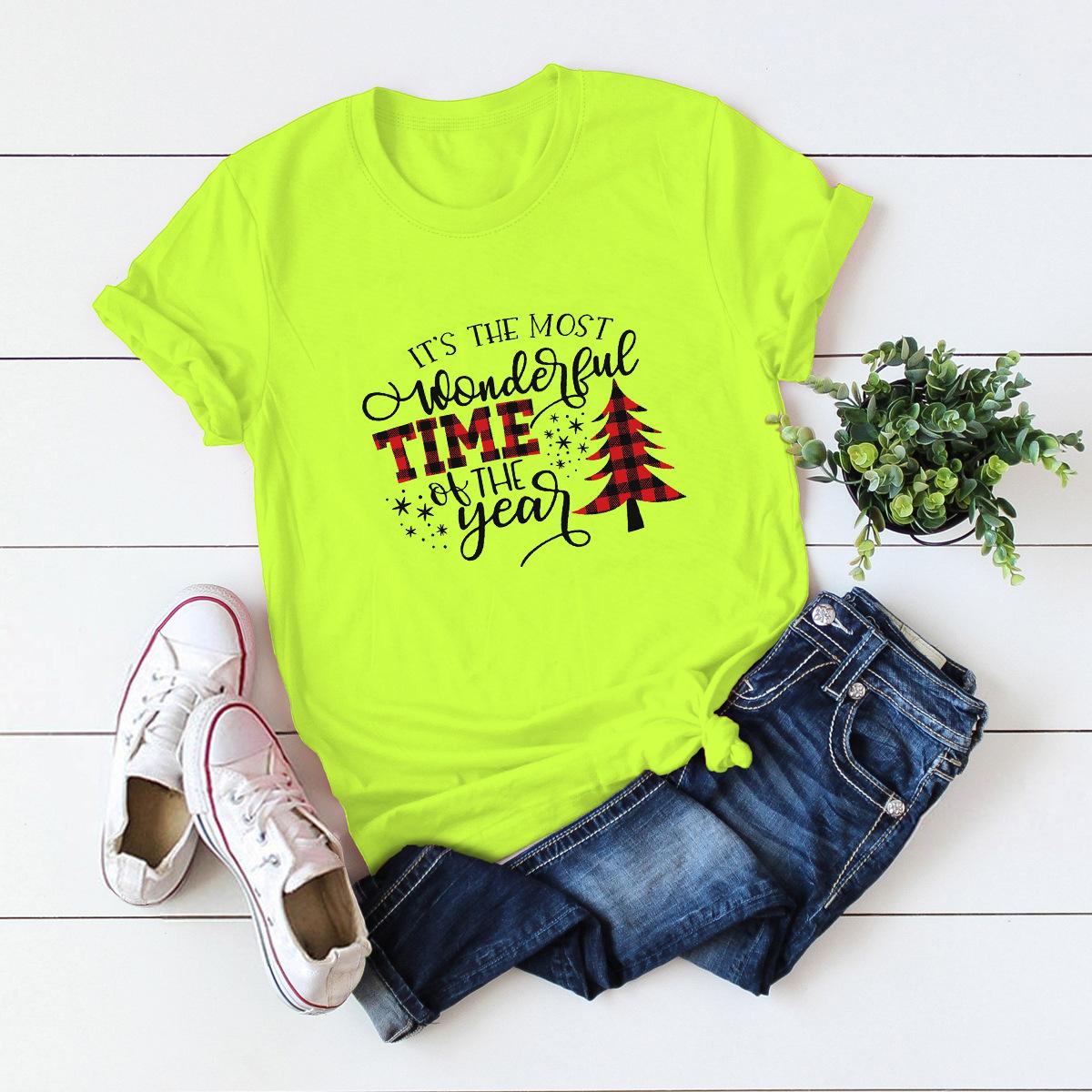 hot women's tops Christmas print cotton short-sleeved t-shirt  NSSN4175