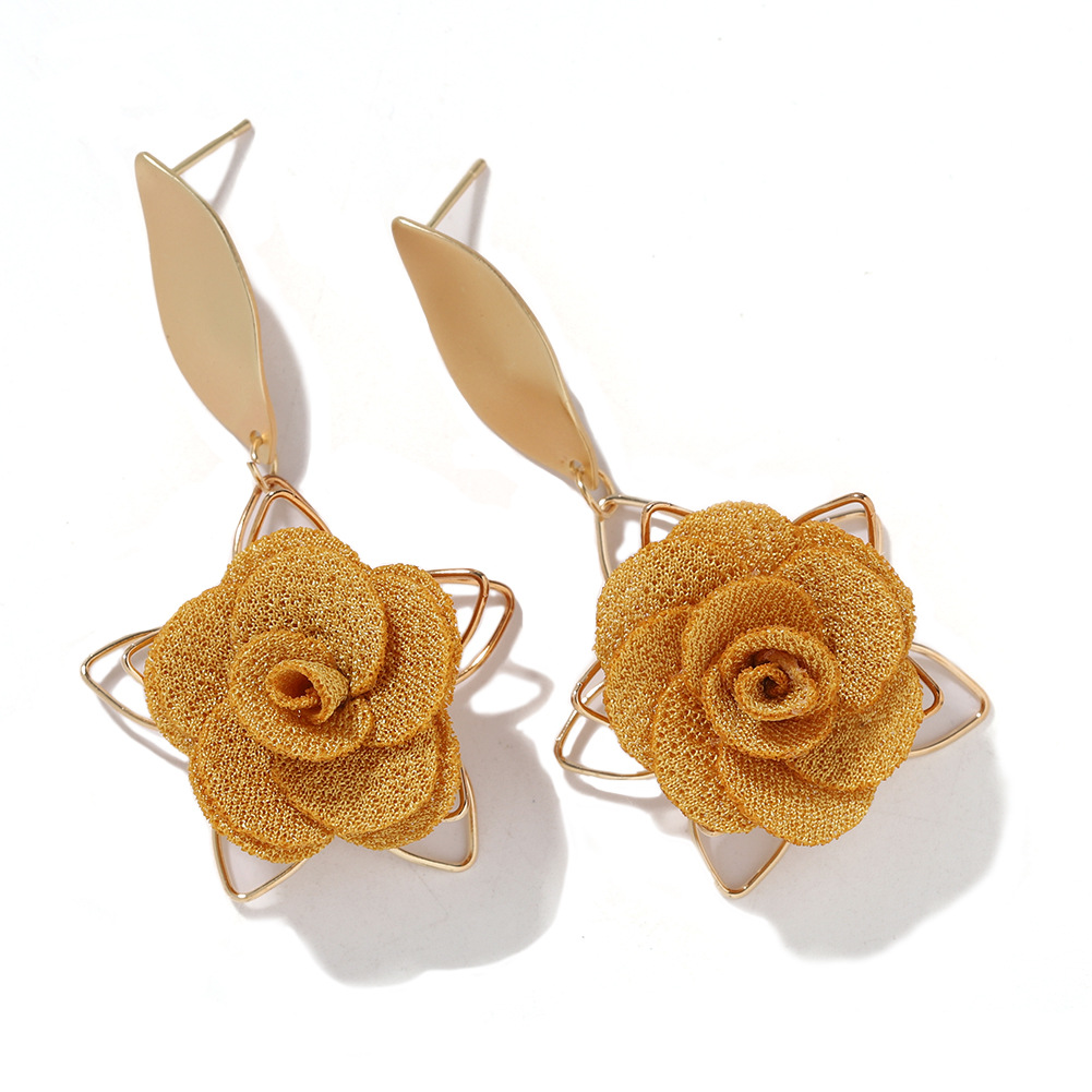 Exquisite hollow fabric flower earrings female Korean fashion new alloy pentagram earrings female NHJQ200384