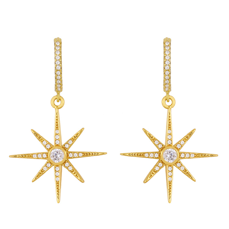 star earrings Korea popular diamond octagonal earrings long earrings wholesale nihaojewelry NHAS234064