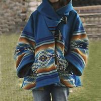 Европейская и американская осенне-зимняя внешняя торговля женской одеждой на ebay Amazon, новая куртка с капюшоном и длинными рукавами, шерстяное пальто с принтом