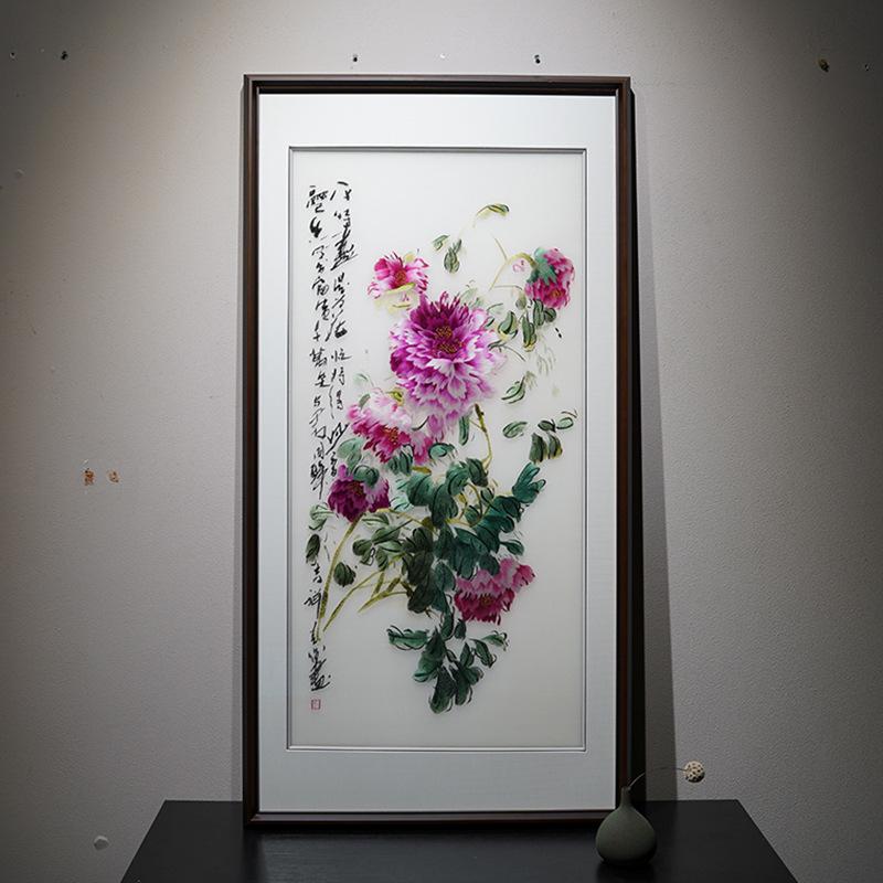 中国风风格国色牡丹苏绣客厅装饰画纯手工艺术画走廊过道玄关挂画