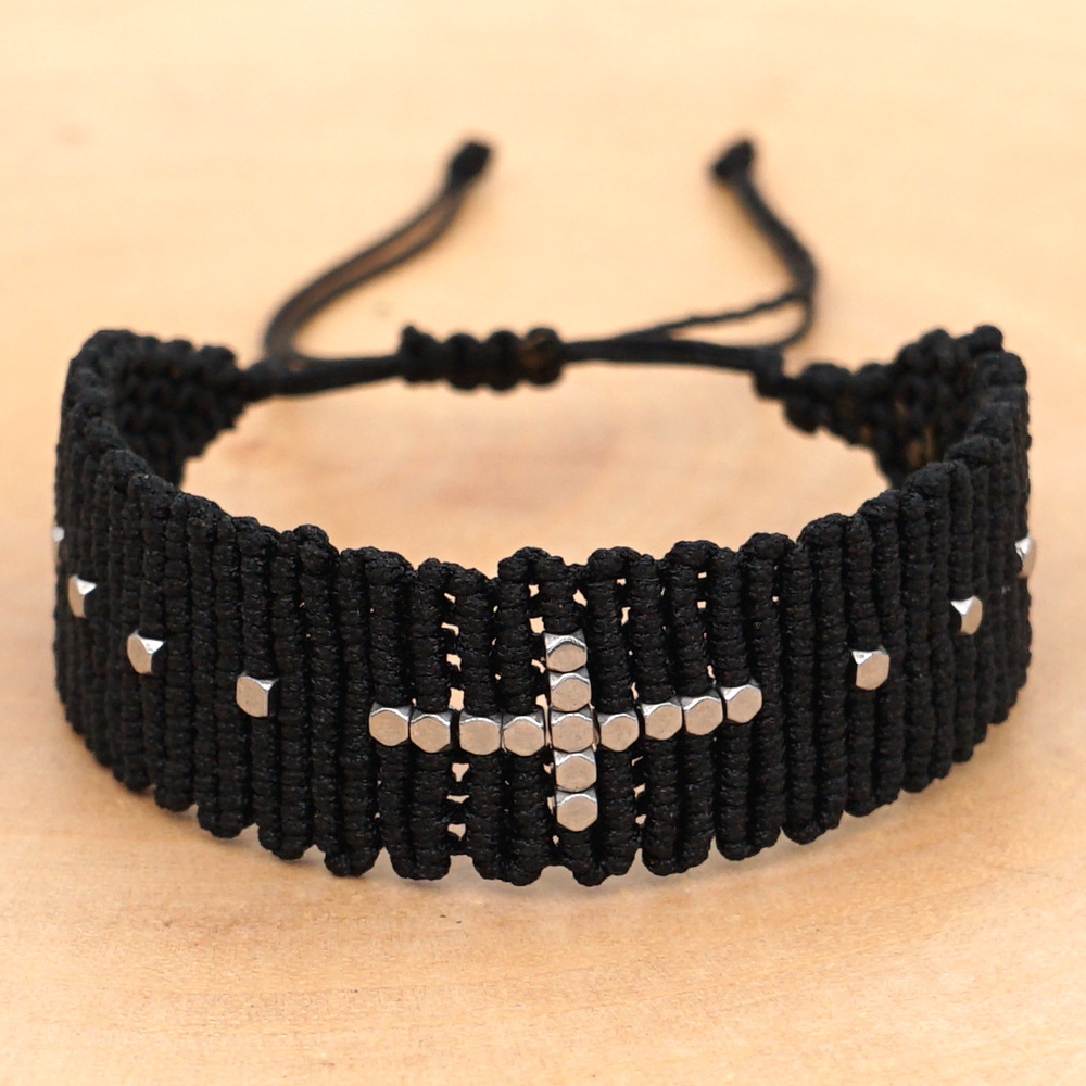 Fashion black woven couple bracelet friendship rope mix and match silver beads handmade woven jewelry NHGW198300
