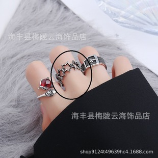 S925 silver-plated ring female Korean version of the trendy simple star Thai silver wide face open joint ring index finger ring jewelry