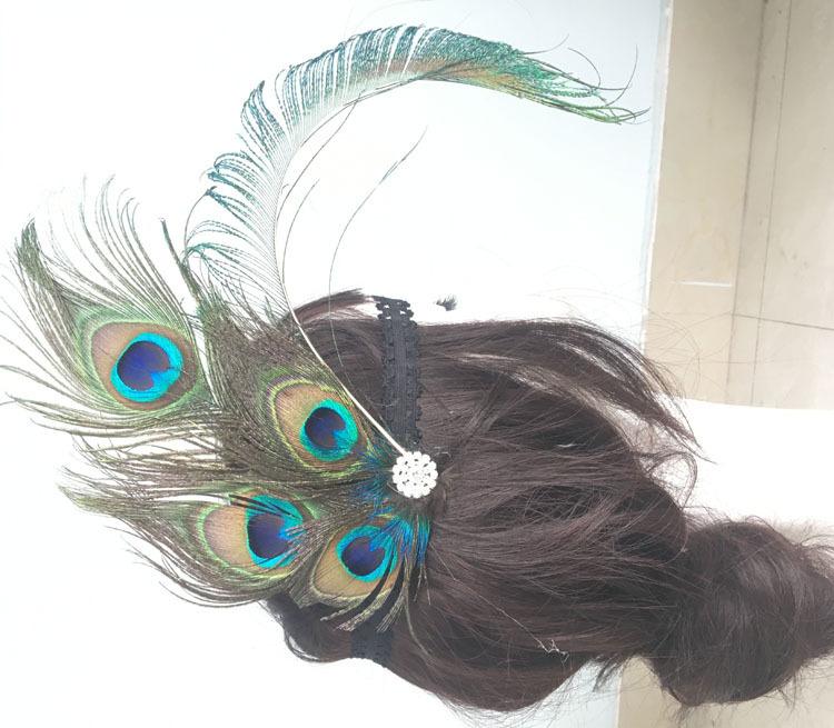 2019亚马逊新款孔雀羽毛镶钻发带亮片头饰女士松紧头带定制批发