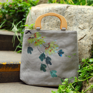 Summer new style Chinese style cotton and linen bag female handbag literary simple large-capacity hand-painted bag with Hanfu bag