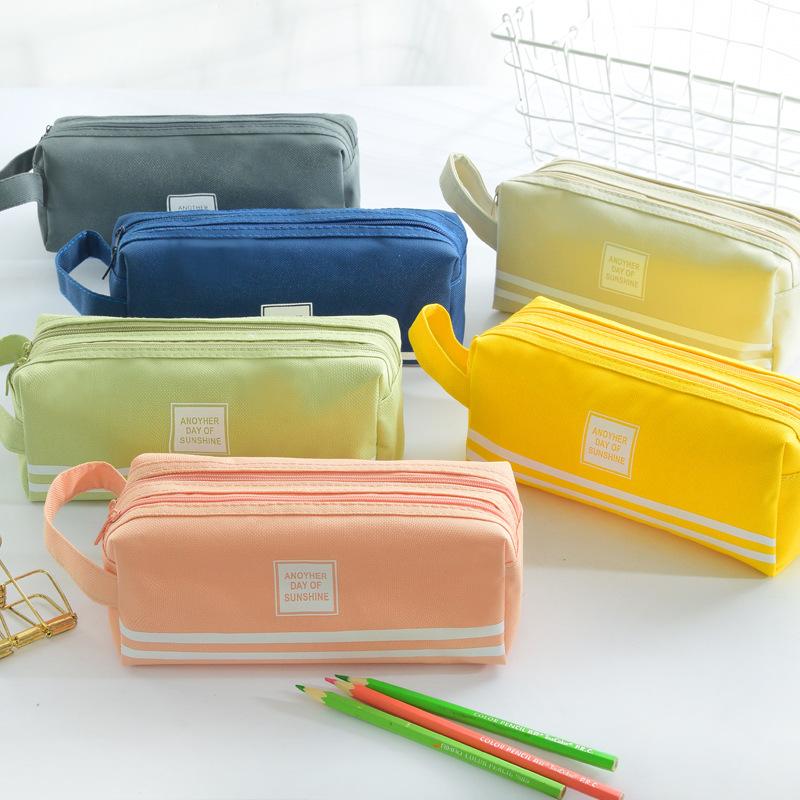 创意帆布大容量笔袋 双层简约多功能纯色小清新铅笔盒文具盒