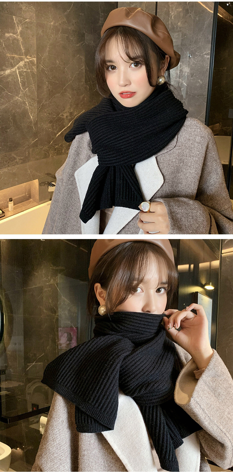 Thick large flat solid color scarf  NHMN285268