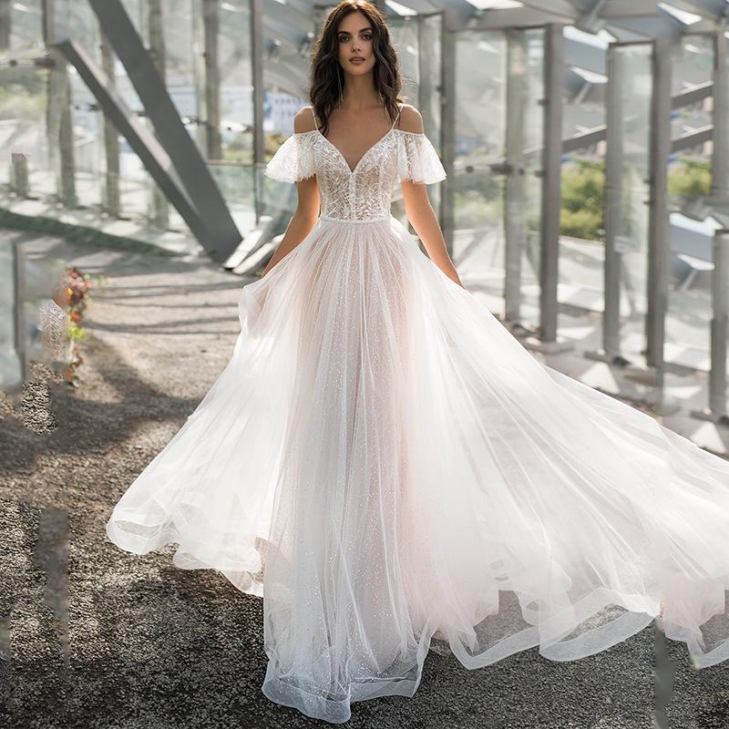2021春新款大码结婚纱礼服修身显瘦双肩齐地胖子蕾丝花朵一字肩女