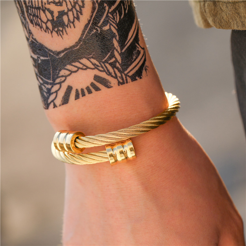 fashion jewelry trend retro personality stainless steel winding geometric bracelet accessories  wholesale nihaojewelry NHZU221384