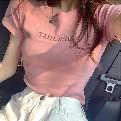 货源字母刺绣上衣2021夏季新款修身打底女装韩版短袖时尚T恤宽松批发批发