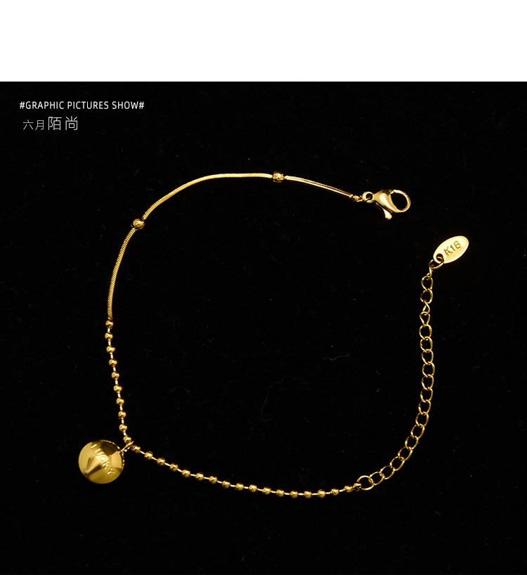 snake bone chain with round bead chain good luck bead bracelet wholesale nihaojewelry NHOK235193
