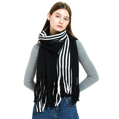 Black and white acrylic wool warm bib and Pinstripe warp knitted scarf for men and women