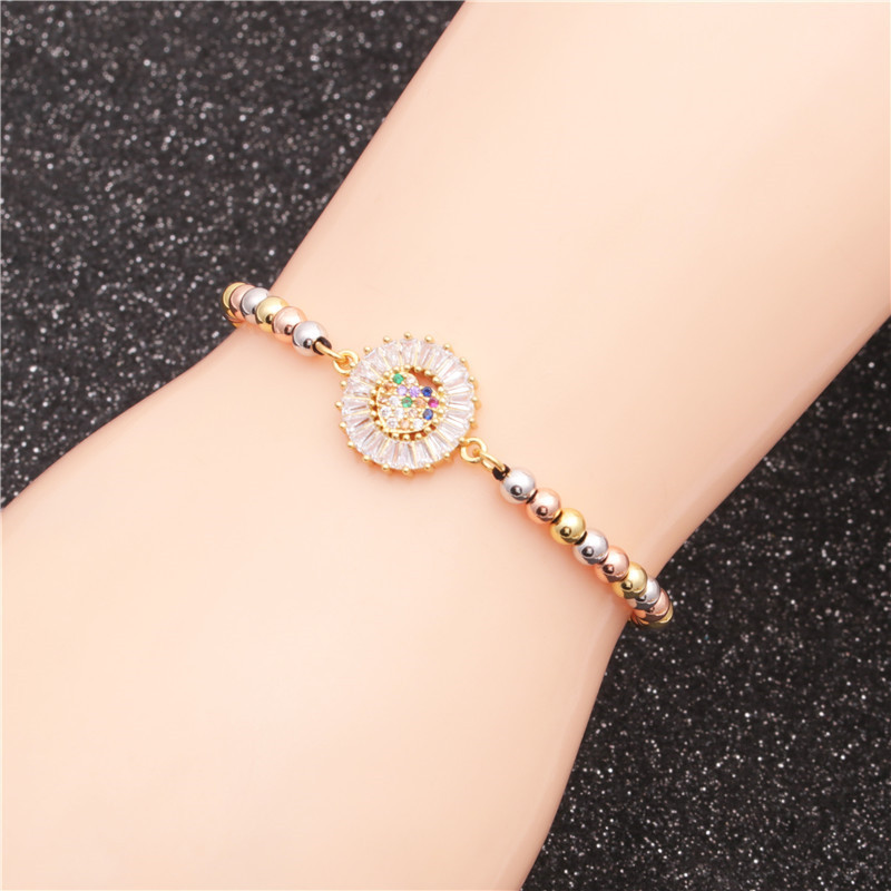 Trendy new product mixed color bead chain micro inlaid zircon love woven ladies bracelet wholesale nihaojewelry NHYL226501