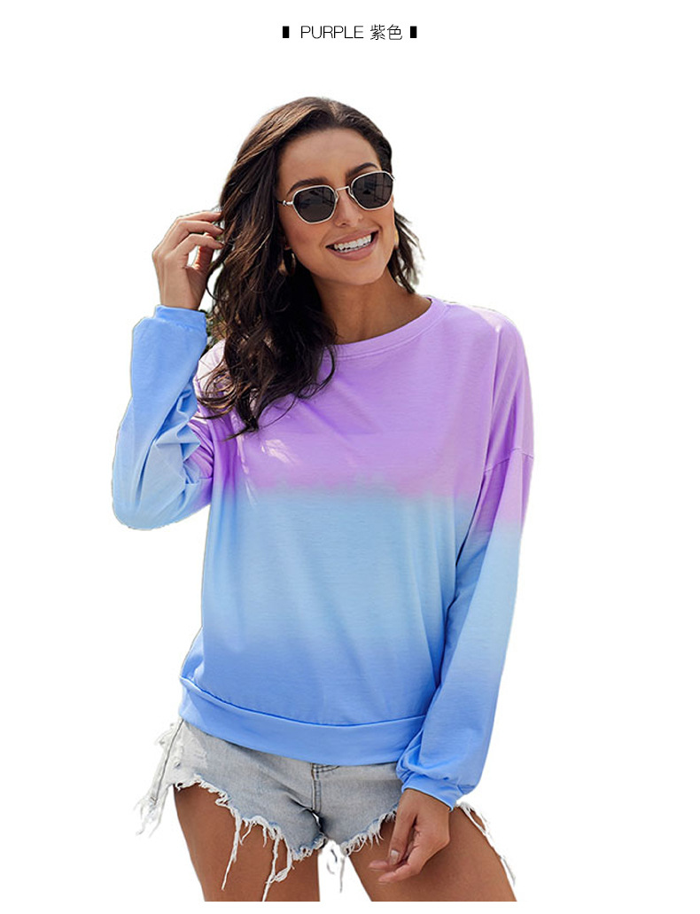 color round neck long sleeve loose women's casual top  NSSI2395