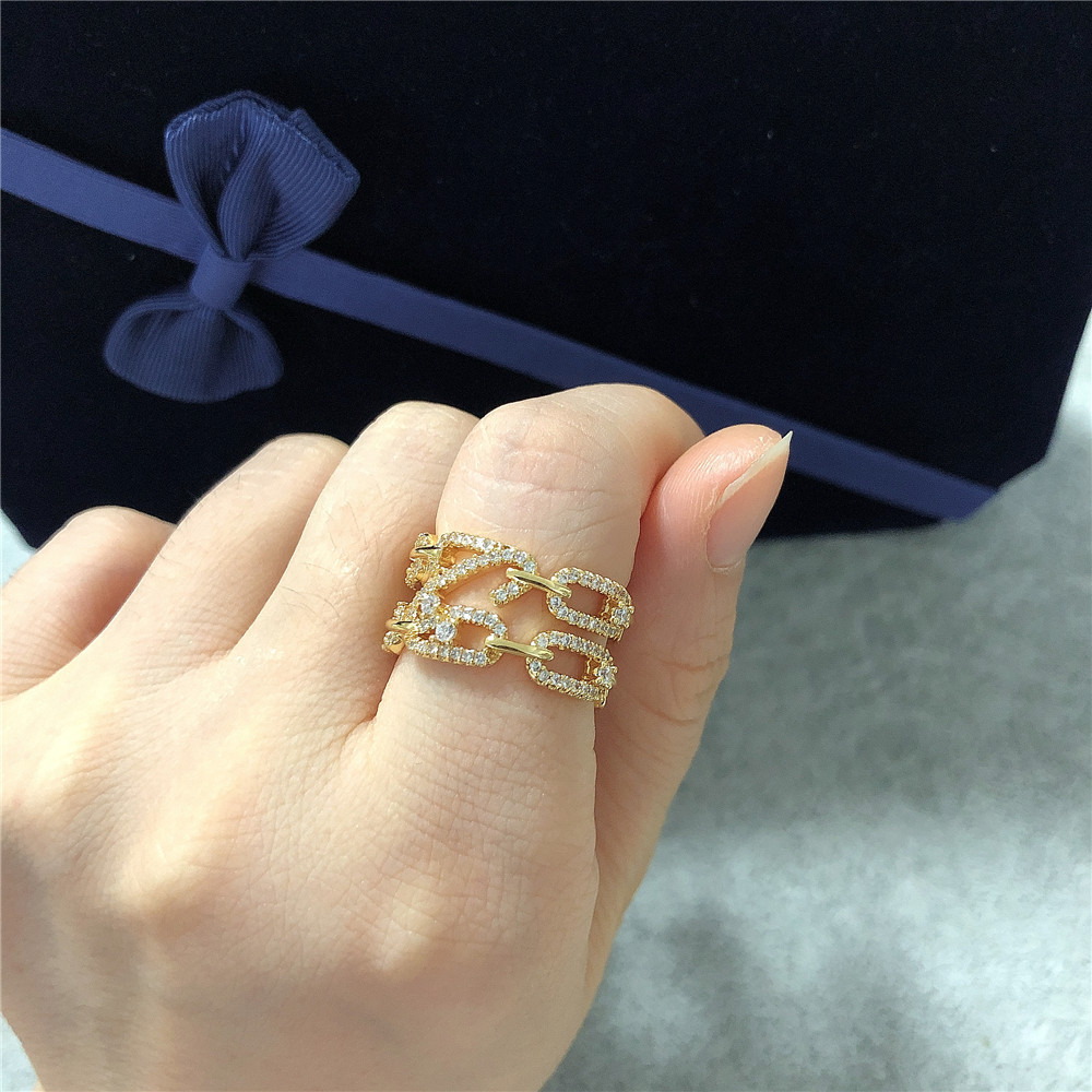 new ring double layer 8 word ring chain buckle ring zircon index finger ring wholesale nihaojewelry NHPY238534