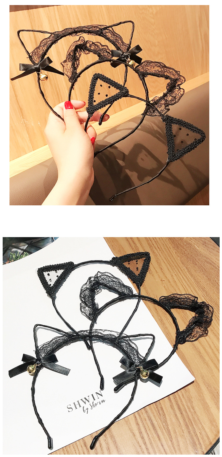New fashion sexy lace bells cat ears bow tie cheap headband wholesale NHDQ212556
