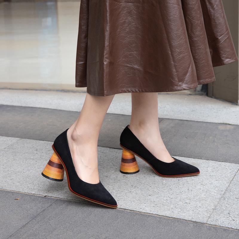 2020新品异域风情异形跟女鞋磨砂羊皮尖头粗高跟牛筋底全真皮单鞋