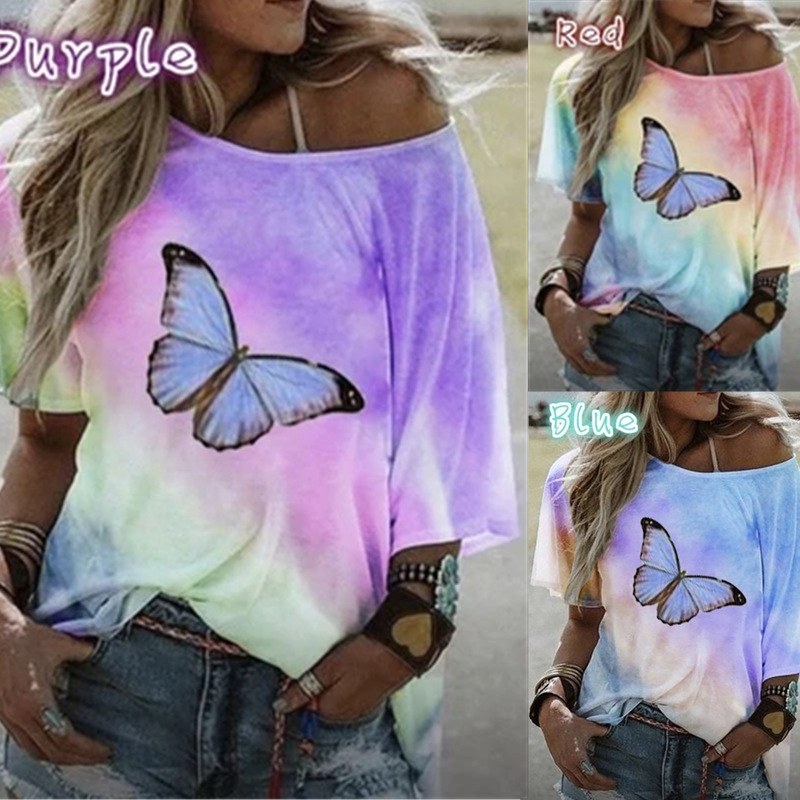 Summer European And American Tie Dye Gradient Printed Butterfly Loose T-shirt Women's Top