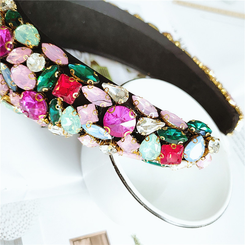 fashion luxury ladies exaggerated sponge diamond baroque style headband hair accessories NHVA251369
