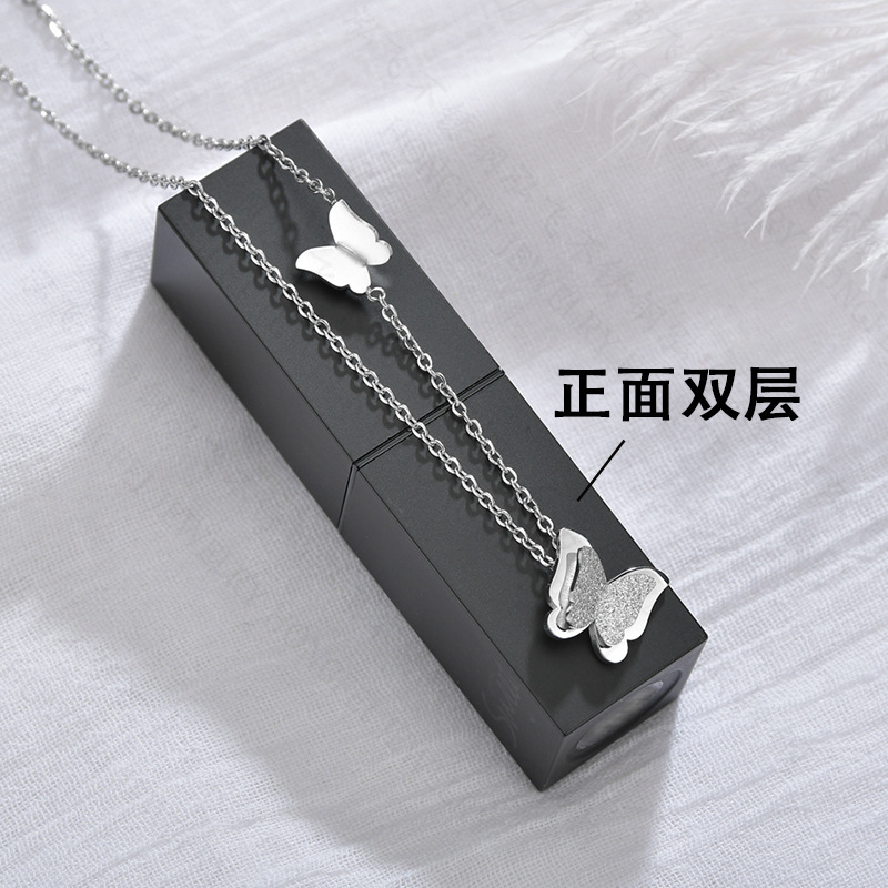 South Korea  new exquisite simple small butterfly necklace titanium steel super fairy frosted double clavicle necklace wholesale nihaojewelry NHHF224299