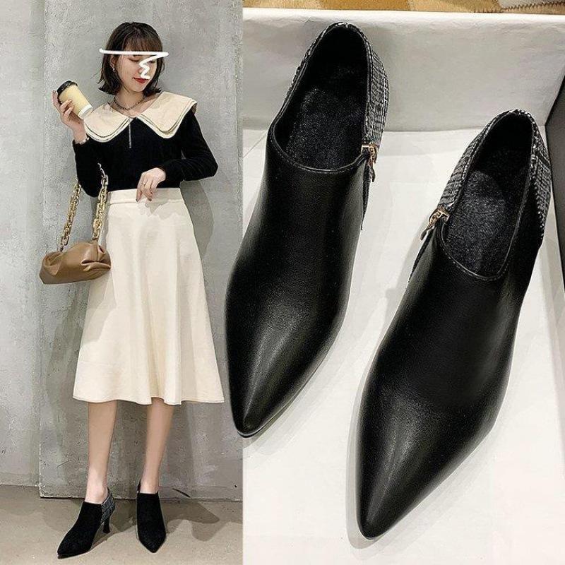2020新款细跟尖头低跟时尚百搭休闲靴女短靴春鞋女士靴子时装靴