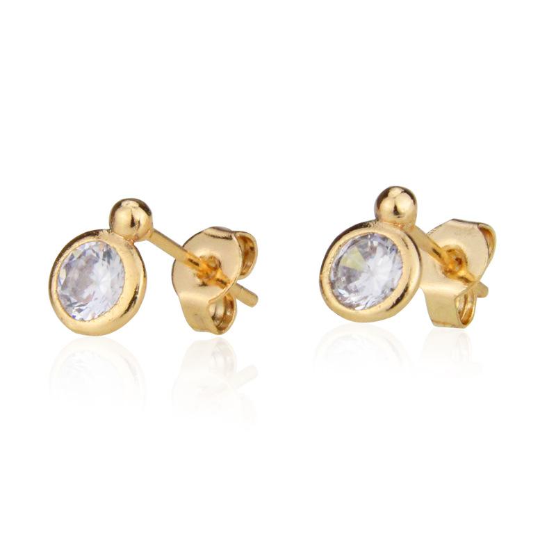Small round earrings with zirconium and diamonds NHBP205851