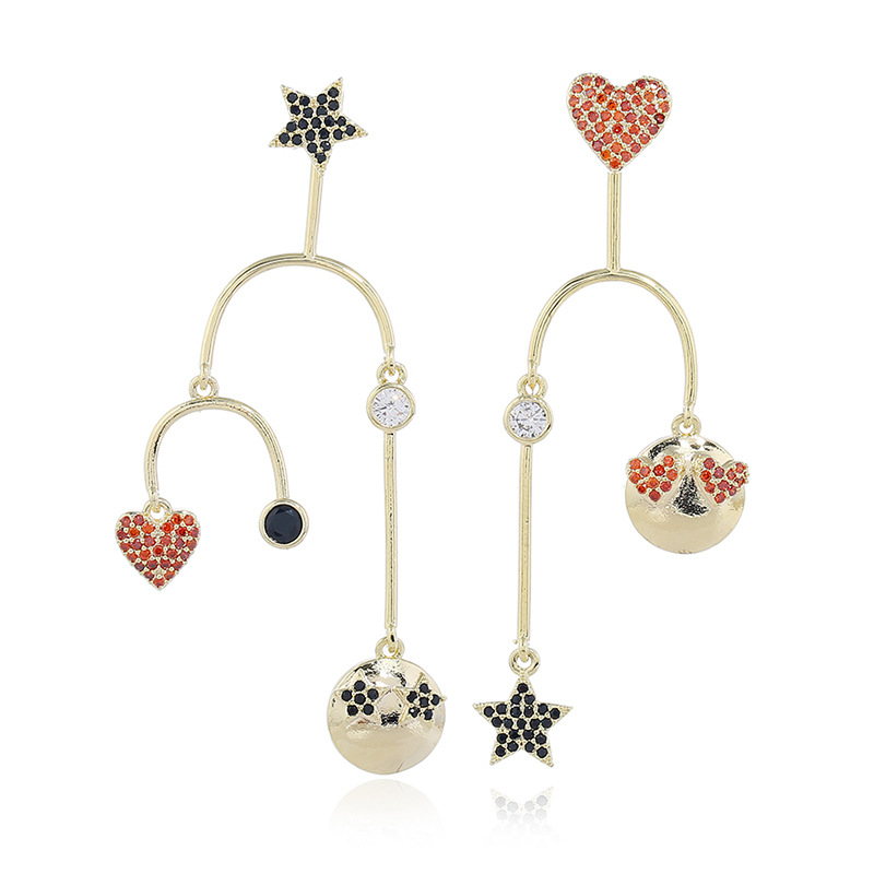 New S925 Silver Needle Star Love Wild Asymmetric Long Exaggerated Earrings NHKQ199042