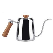 厂家木柄咖啡手冲壶 长嘴咖啡壶带盖天鹅嘴木柄 挂耳壶咖啡手冲