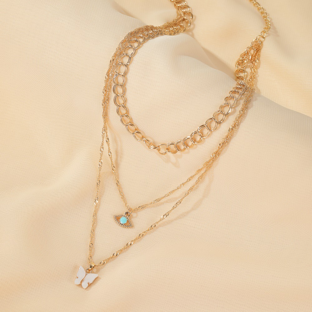Multi-layer necklace retro metal thick chain 3-layer green eye long necklace butterfly sweater chain women NHMO235944