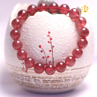 Natural ice seed strawberry crystal beads god luck bracelet Red Strawberry Crystal hand chain DIY crystal jewelry wholesale Strawberry crystal jewelry