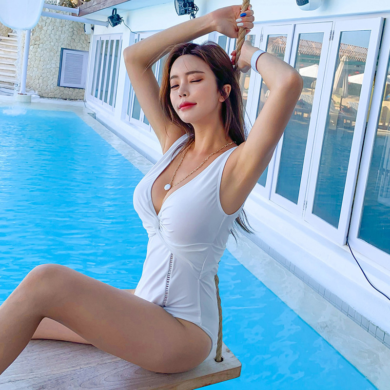 fashion show white sexy hollow one-piece swimsuit   NSHL3971