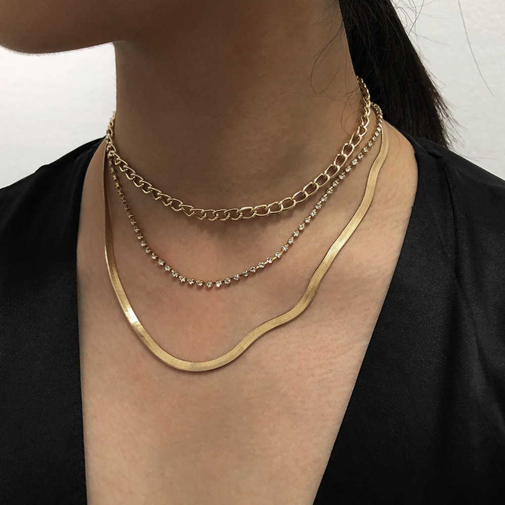Fashion   simple geometric multilayer alloy necklace   NHMD254295