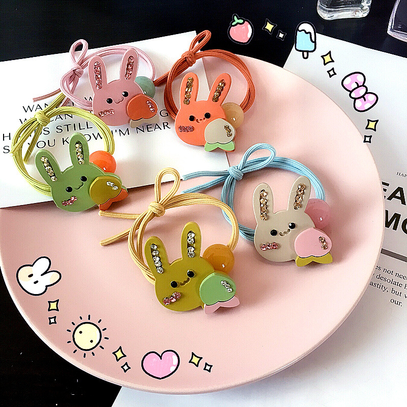 The new girl is a candy-colored diamond bunny knotted colored hair band rubber band hair accessories NHHI204492