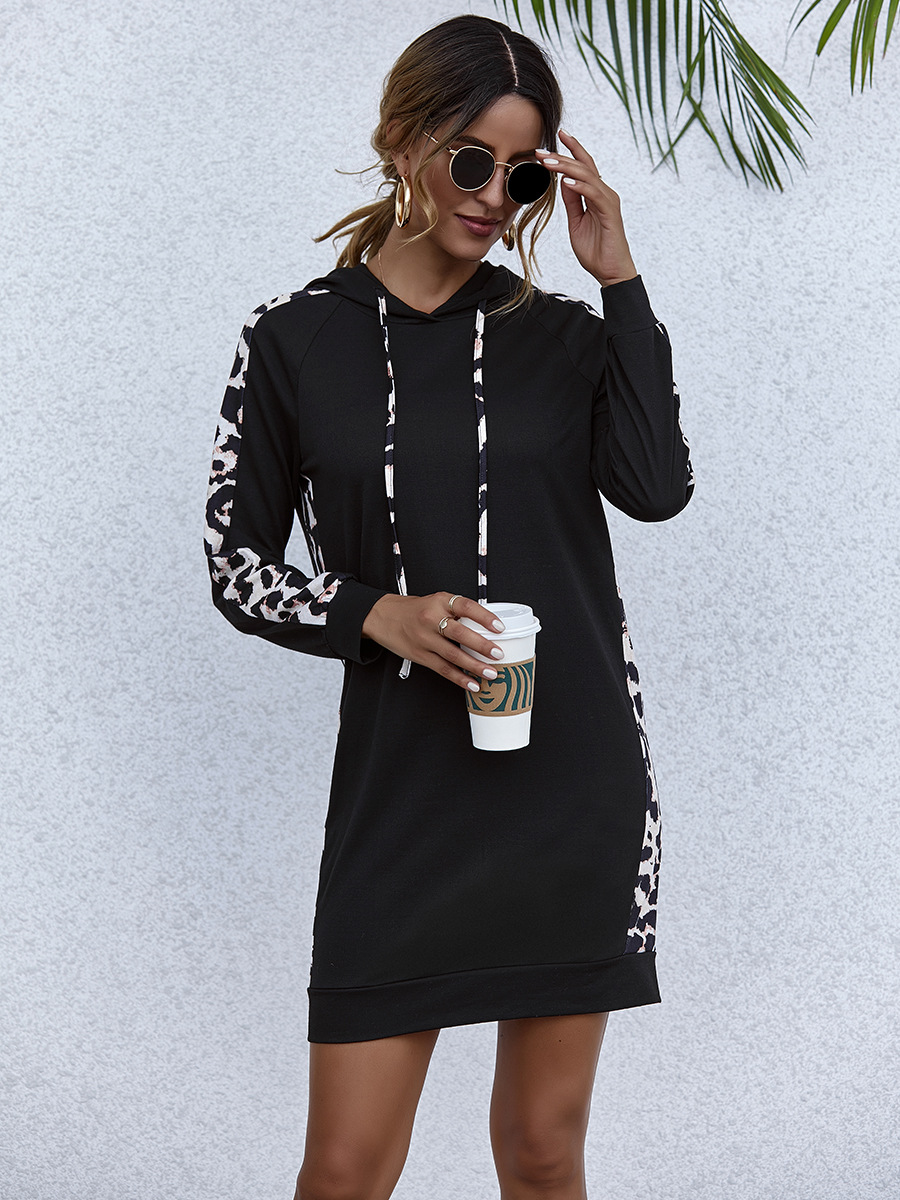 autumn and winter new black hooded leopard print side stitching dress NSAL6707
