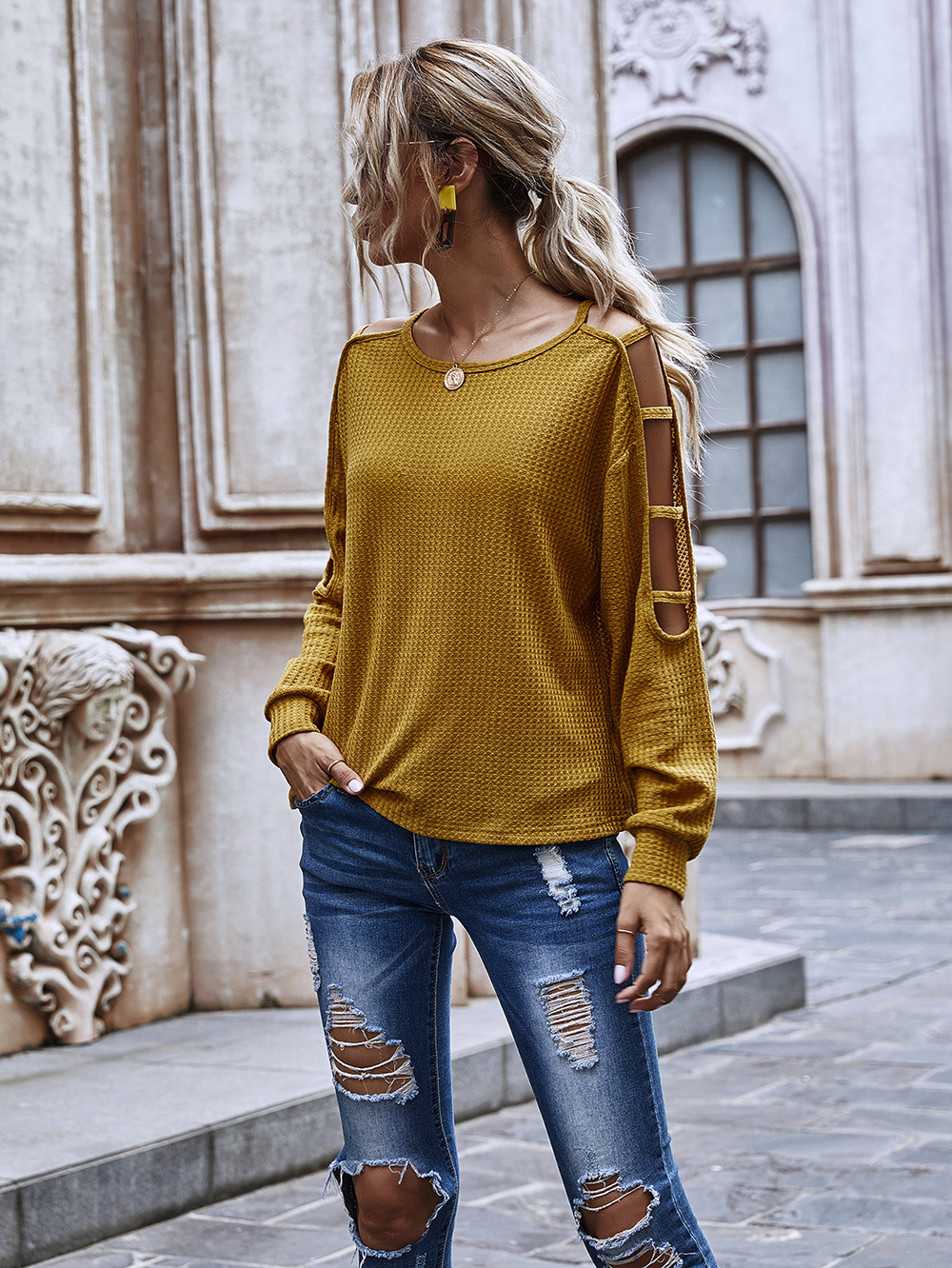 new solid color round neck sweater hollow long sleeve loose casual shirt wholesale NHDF16