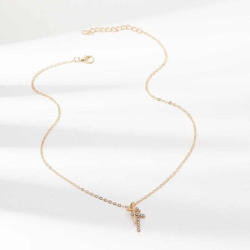 Vintage fashion double cross necklace alloy inlaid zircon pendant necklace women NHNZ198200