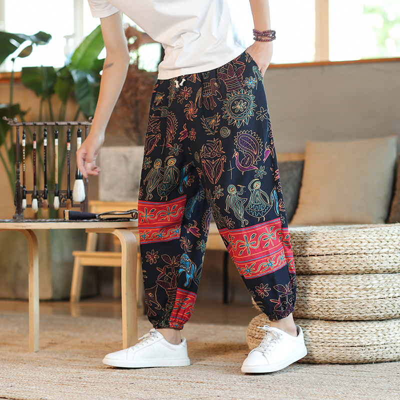 Summer New Men's Thin Breathable Cotton And Linen Casual Harem Pants